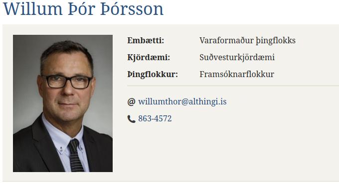 Willum Þór formaður fjárlaganefndar Alþingis